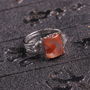 天然冰飘南红玛瑙戒指