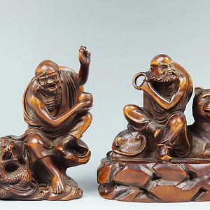 早期收藏老黄杨木雕降龙伏虎罗汉摆件