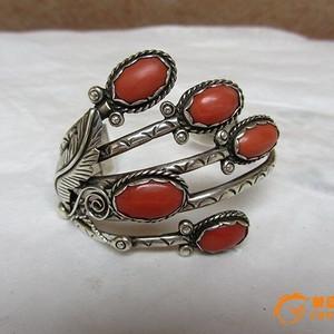 欧洲百年以上老银镶牛血红珊瑚手镯 21