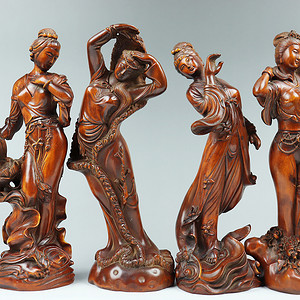 早期收藏黄杨木雕四大美女人物摆件