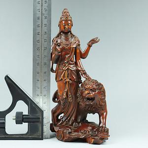 早期黄杨木雕四壁骑狮观音摆件