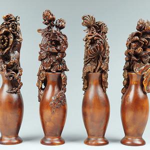 早期收藏的黄杨木精品摆件 四季平安