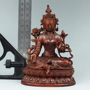 早期黄杨木雕摆件 度母像