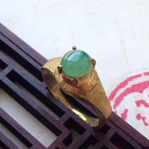 天然A货翡翠冰透辣绿戒指XB551