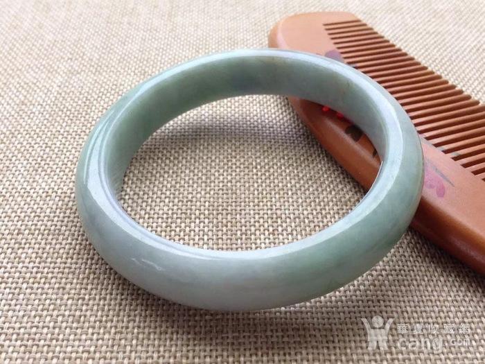 天然A货翡翠老坑水润淡绿圆条手镯 XB567图5