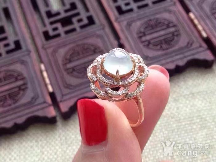 天然A货翡翠18K金钻石玻璃种圆蛋面女戒指环 210图6