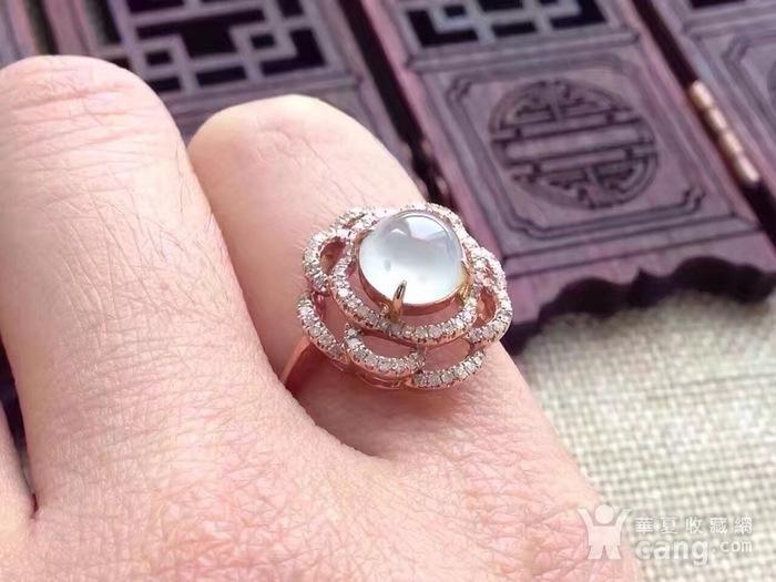天然A货翡翠18K金钻石玻璃种圆蛋面女戒指环 210图9