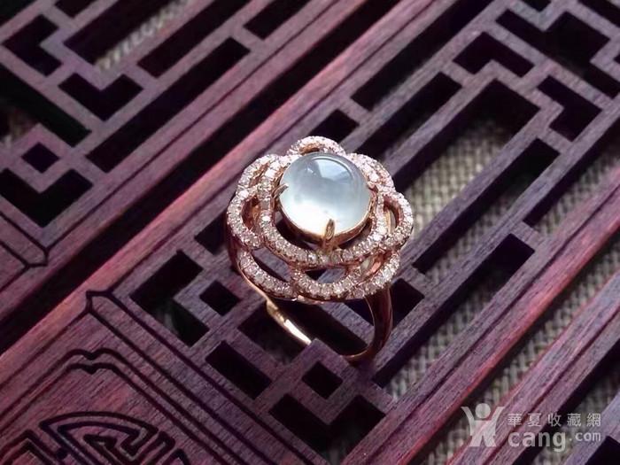 天然A货翡翠18K金钻石玻璃种圆蛋面女戒指环 210图3