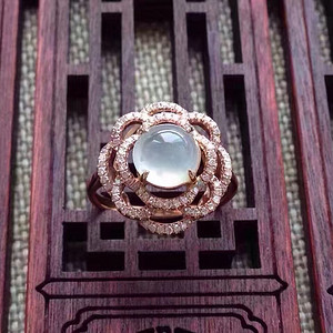天然A货翡翠18K金钻石玻璃种圆蛋面女戒指环 210