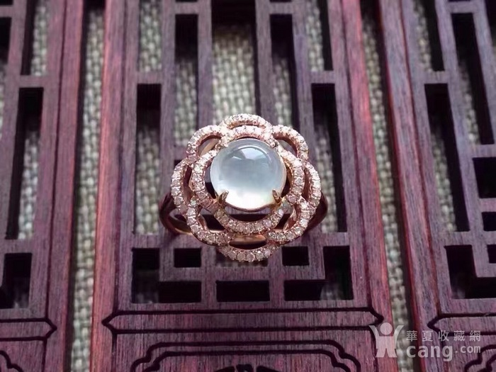 天然A货翡翠18K金钻石玻璃种圆蛋面女戒指环 210图1
