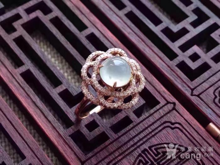 天然A货翡翠18K金钻石玻璃种圆蛋面女戒指环 210图2