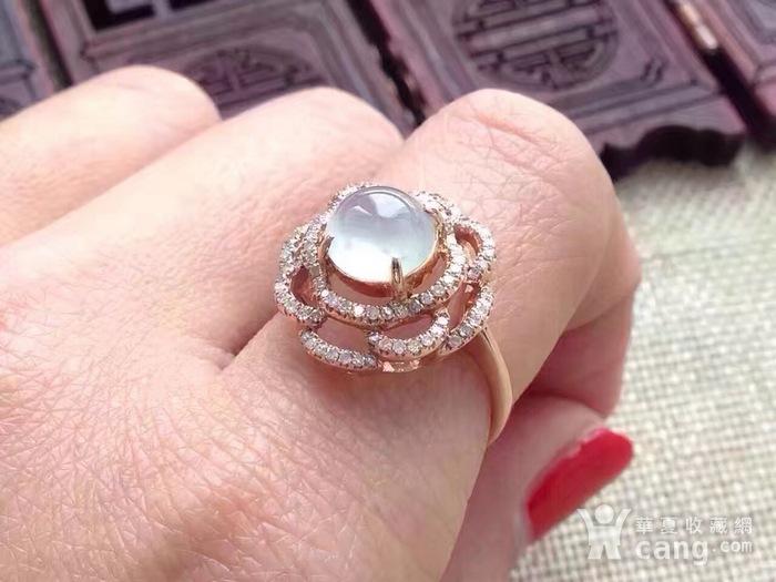 天然A货翡翠18K金钻石玻璃种圆蛋面女戒指环 210图7