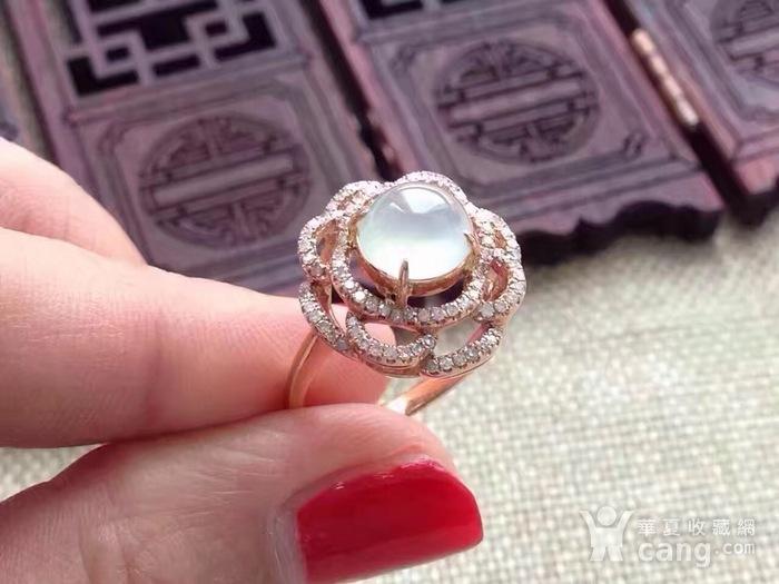 天然A货翡翠18K金钻石玻璃种圆蛋面女戒指环 210图4