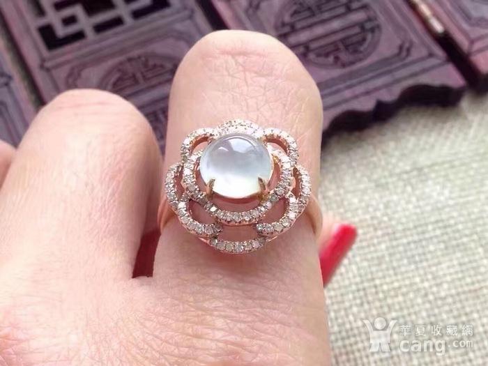 天然A货翡翠18K金钻石玻璃种圆蛋面女戒指环 210图8