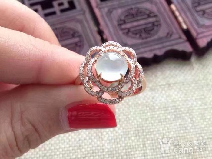 天然A货翡翠18K金钻石玻璃种圆蛋面女戒指环 210图5