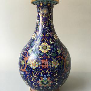 清晚期 铜胎掐丝珐琅玉壶春瓶