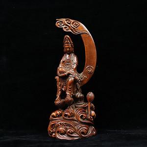 旧藏黄杨木雕水月观音菩萨摆件