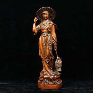 早期收藏黄杨木雕渔家女人物摆件