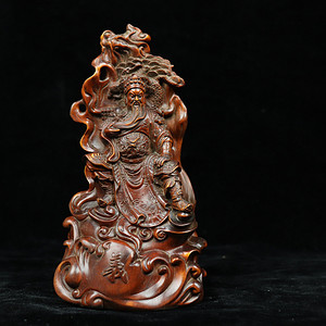 早期收藏黄杨木雕关公忠义乾坤珊子摆件