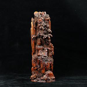 早期收藏黄杨木雕自在观音珊子摆件