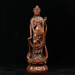早期收藏黄杨木雕大势至菩萨摆件