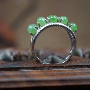 和田碧玉活口戒指925银镶嵌