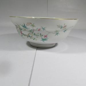 晚清粉彩花卉纹折腰大碗