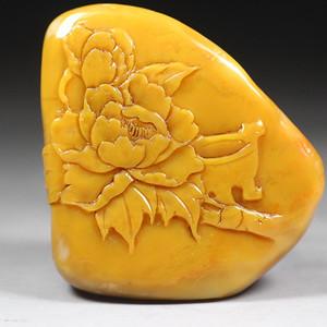 经典收藏 精品老挝田黄石薄艺《花开富贵图》