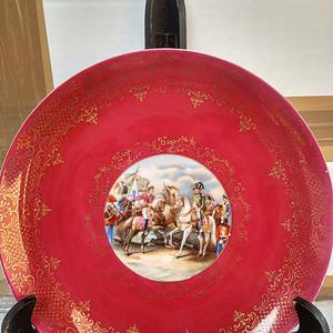 欧洲名瓷:法国造粉彩描金拿破仑人物故事大盘