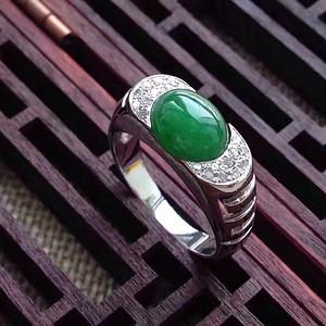 天然A货翡翠18K金钻石冰种艳绿蛋面女戒指 144