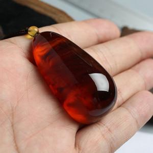 棕红缅甸琥珀水滴吊坠 10JI03