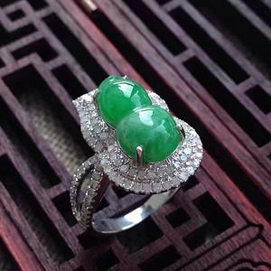 天然A货翡翠18K金冰种满绿葫芦钻石戒指229