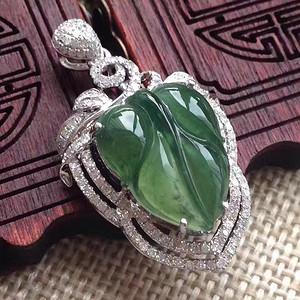 天然A货翡翠18K金钻石冰种浓绿树叶子玉坠 1297