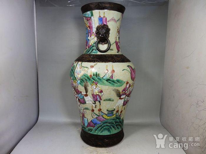 清代大号哥釉五彩三国人物绘画赏瓶图4