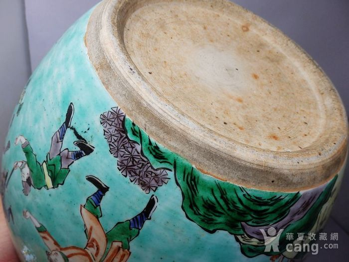 清代绿地五彩人物绘画卷缸图8