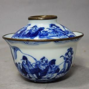 清代青花八仙过海内外绘画茶盖碗