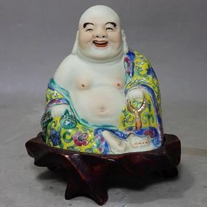 民国粉彩蔡福记造弥勒佛像