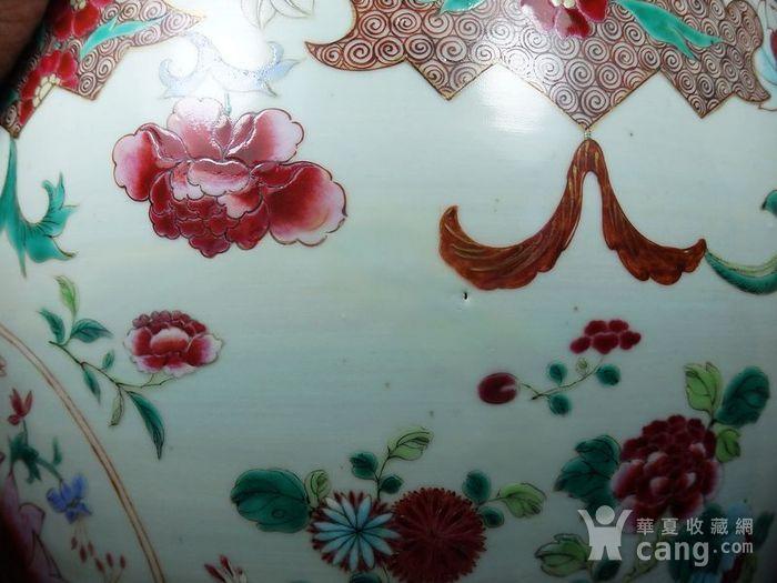 雍正大号粉彩花卉绘画卷缸图6