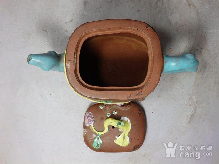 清代紫砂加彩松鼠堆塑执壶图6