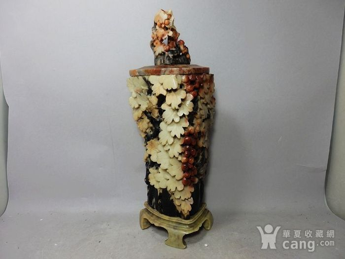 清代寿山石多子多福镂空盖瓶图1