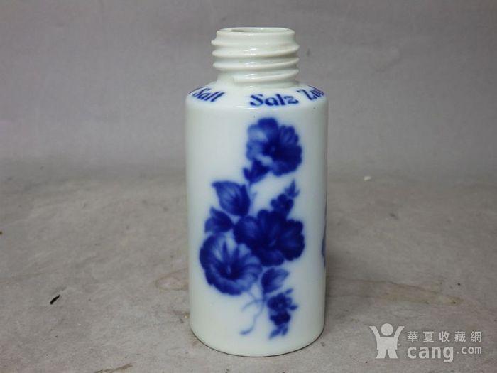 维多利亚时期青花花卉绘画瓶图1