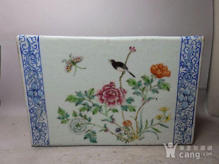清代粉彩花鸟绘画瓷枕图2