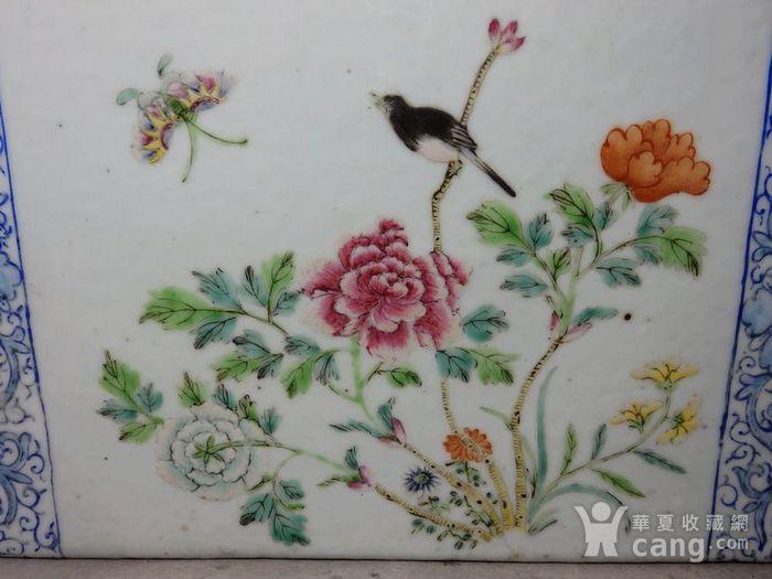 清代粉彩花鸟绘画瓷枕图5