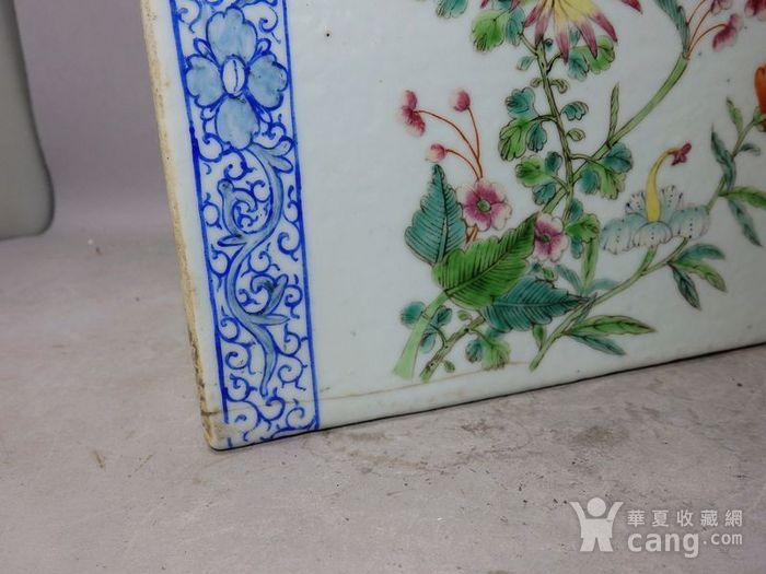 清代粉彩花鸟绘画瓷枕图6