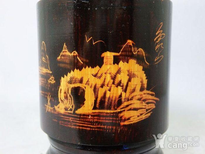 民国竹制山水雕刻笔筒图4