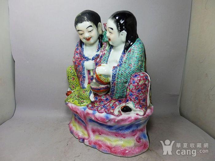 清代大号粉彩和合二仙人物塑像图2