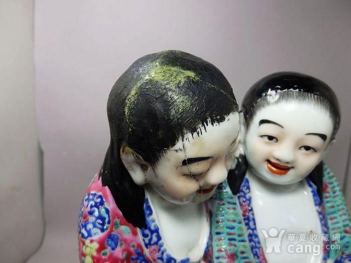 清代大号粉彩和合二仙人物塑像图6