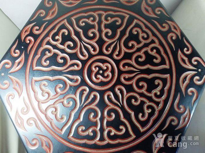 清代大号漆器雕刻六方凳图4