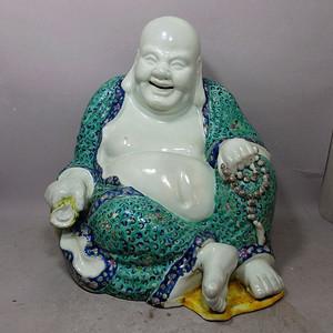 清代万同顺造粉彩弥勒佛像