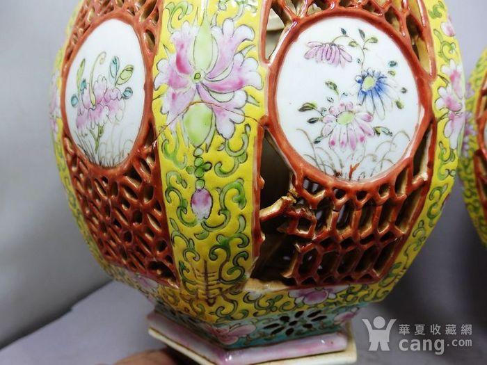 清代黄地粉彩花卉绘画宫灯一对图4